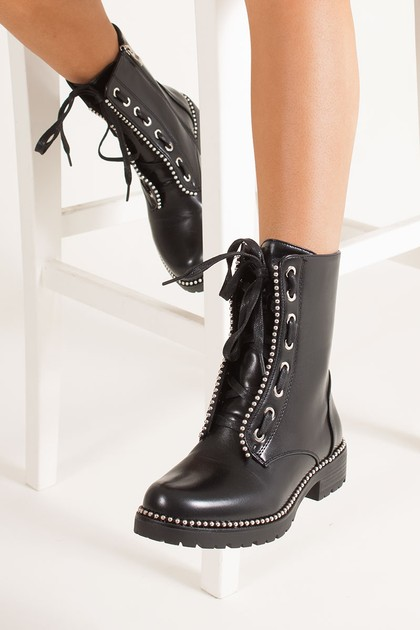 LENA Black Faux Leather Silver Studded Biker Boots