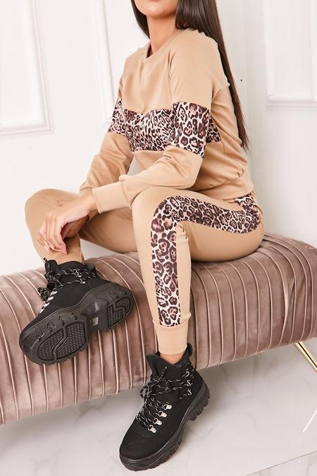 ELLEN Camel Leopard Print Contrast Co-Ord Lounge Set
