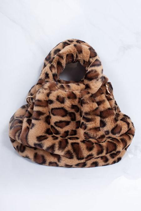 ARYA Leopard Print Faux Fur Handbag