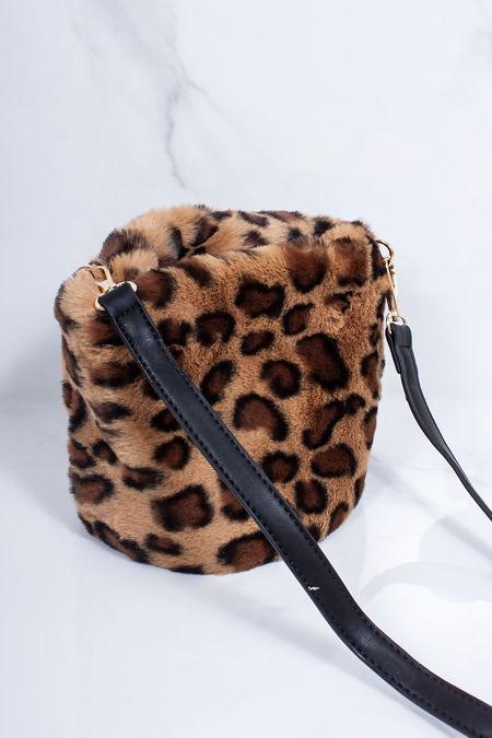 ISABELLA Leopard Faux Fur Bucket Bag