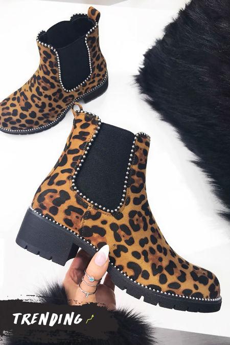ALEX Leopard Print Stud Chelsea Boots