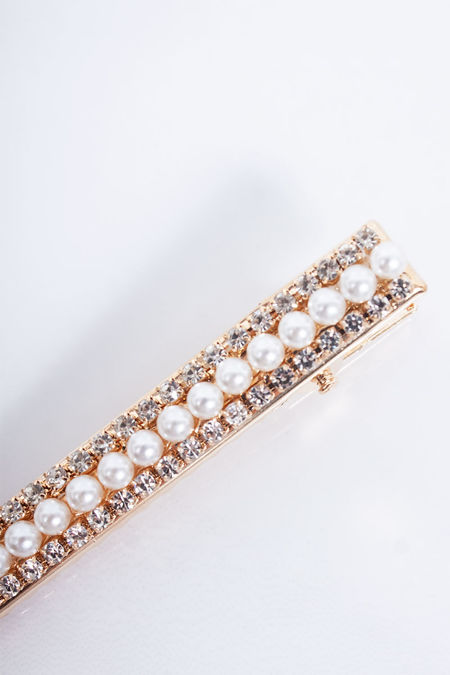 LILY Gold Pearl Diamante Hair Slide