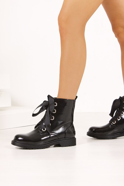 MAGGIE Black High Shine Ankle Boots