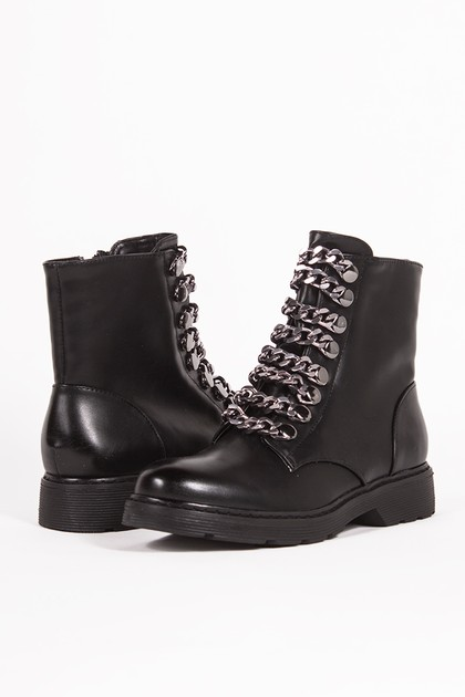 MAYA Black Chunky Biker Boots With Chain Detail