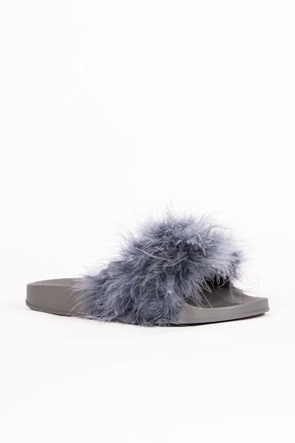 MEGAN Grey Faux Fur Slider