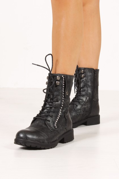MILA Black Metallic Silver Stud Lace Up Boots