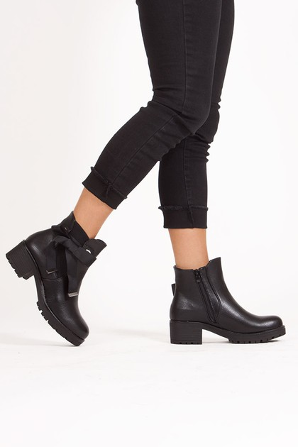 MOLLY Black Heeled Ankle Boot With Ribbon Detail