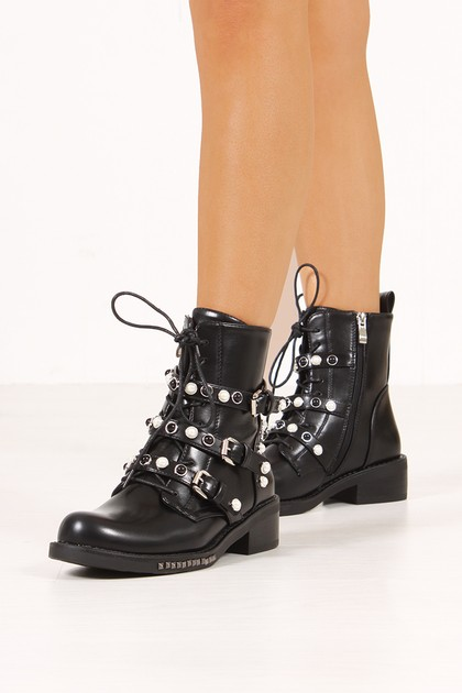 MONICA Black Pearl Buckle Strap Ankle Boots