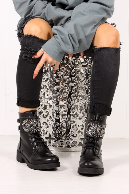 MORGAN Black Jewel Embellished Buckle Strap Boots