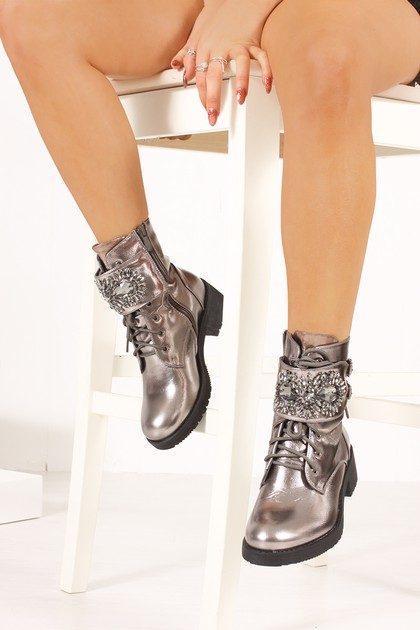 MORGAN Silver Metallic Jewel Embellished Buckle Strap Boots