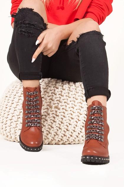 NATALIA Brown Chain Strap Detail Biker Boots