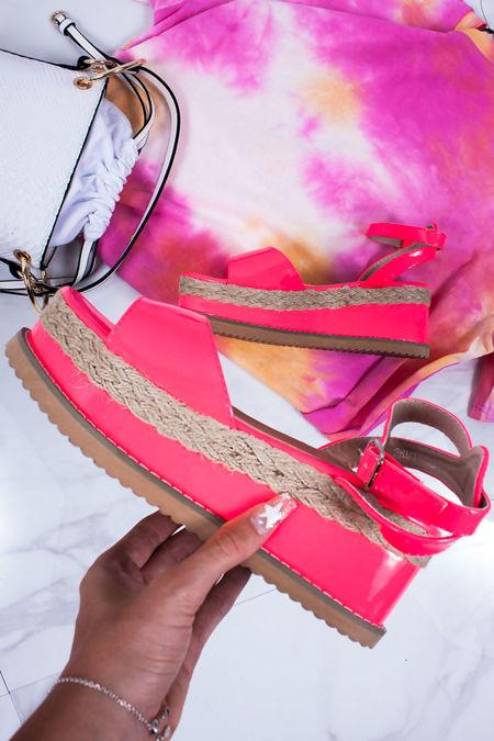 KENDALL Neon Pink Flatform Espadrille Sandals