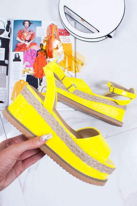 KENDALL Neon Yellow Flatform Espadrille Sandals