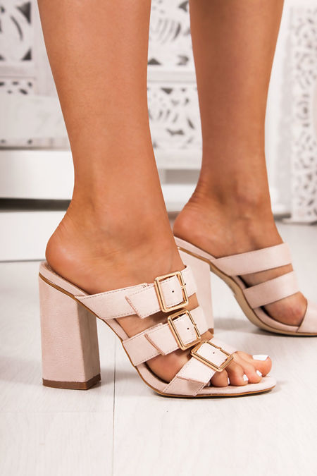 LARISA Nude Buckle Strap Heeled Mules