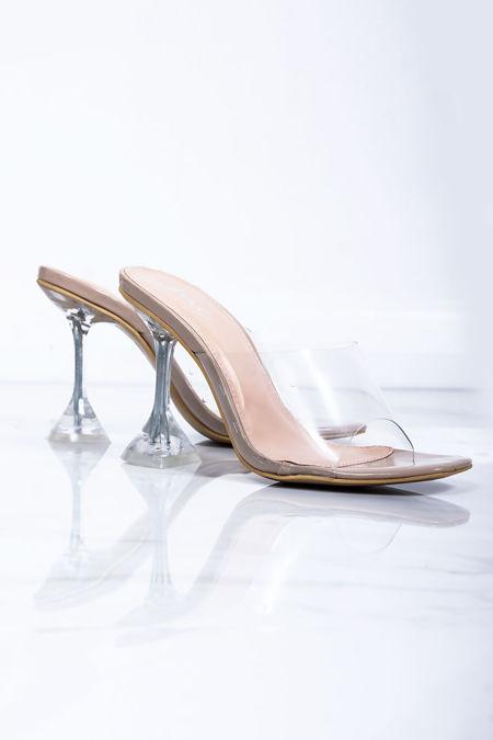 EMILIA Nude Clear Cake Stand Mule Heels