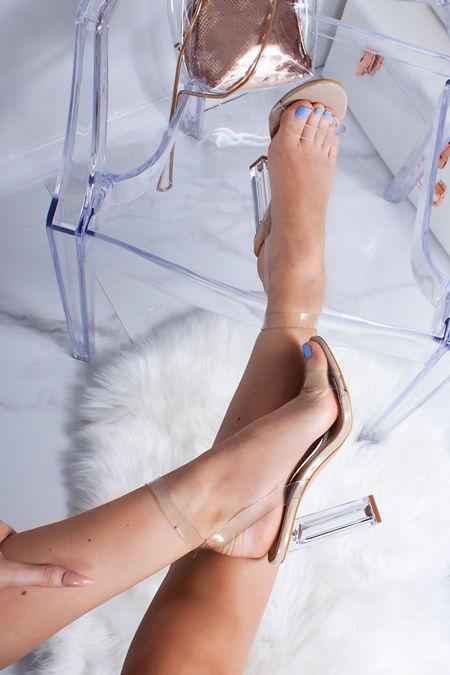 CARLI Nude Clear Block Heels