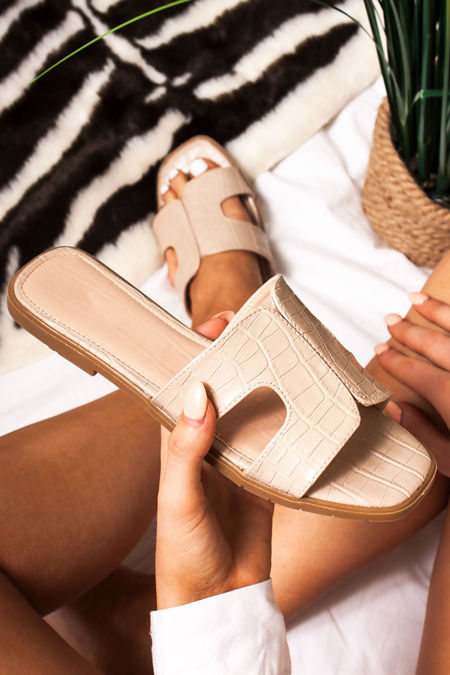 DEENA Nude Croc Print Strap Sandals