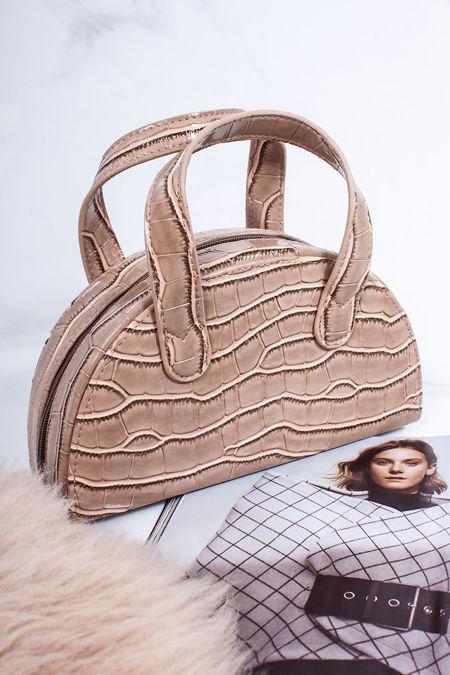 AVERY Nude Croc Half Moon Bag