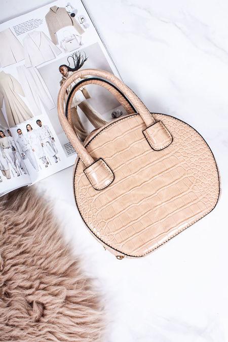 BELLA Beige Croc Print Round Handbag