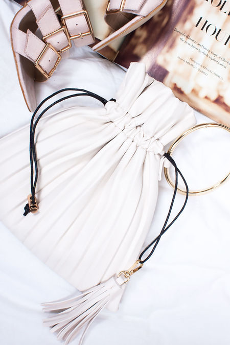 MILA Cream Pleated Pouch Clutch Bag