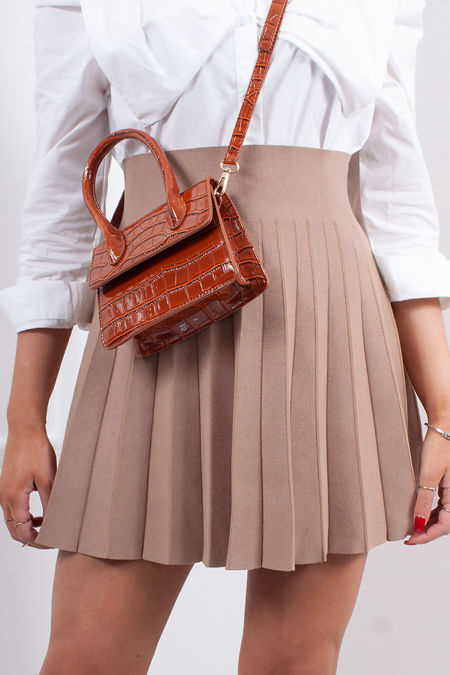 SCARLETT Camel Pleated Skater Skirt