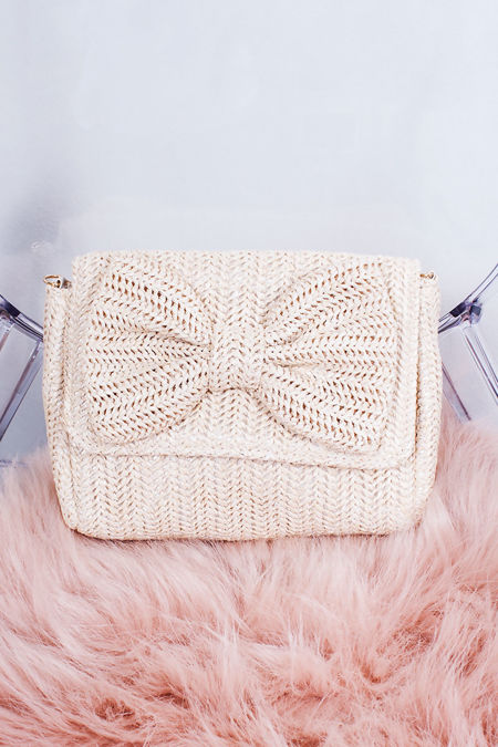 PAIGE Nude Straw Bow Clutch Bag