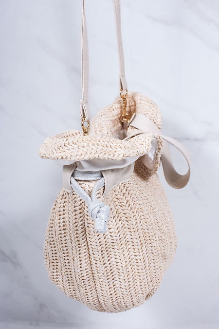 ALICE Nude Straw Bucket Bag