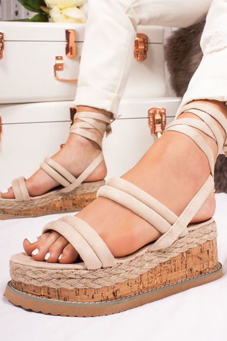 HARLOW Cream Faux Suede Wrap Up Flatform Espadrille Sandals
