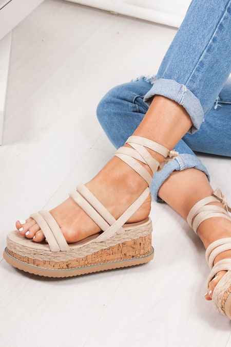 HARLOW Cream Faux Suede Wrap Up Flatform Espadrille Sandals