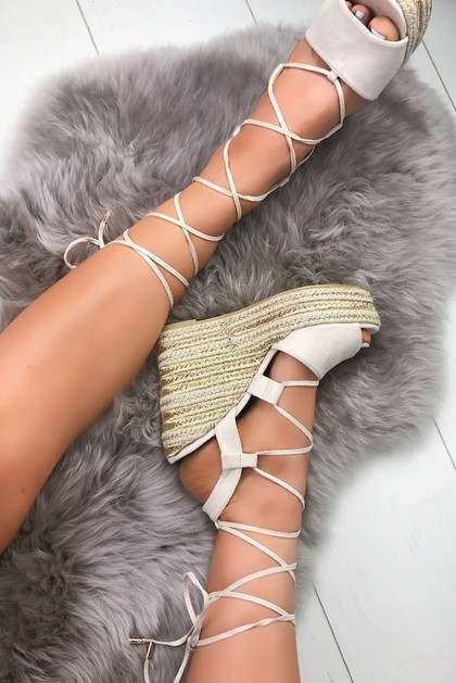 GISELLE Nude Wrap Up Espadrille Wedges