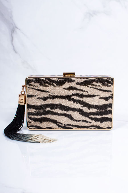 LILA Gold Zebra Square Clutch Bag