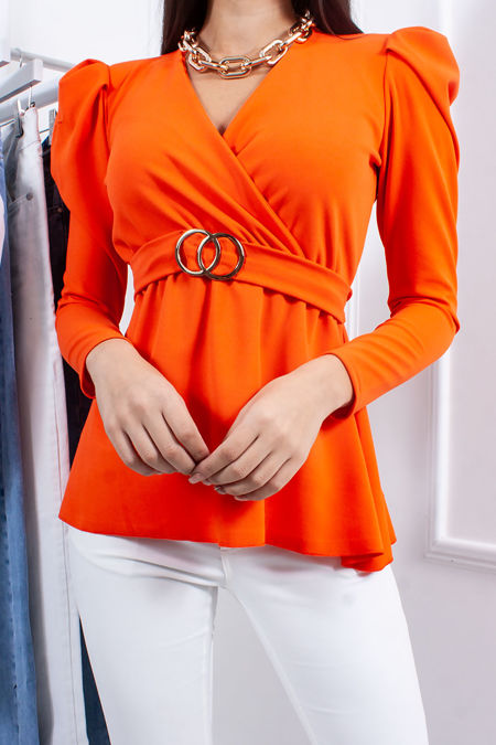 JOLIE Orange Ring Detail Belted Tie Back Top