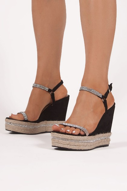 ORLA Black Espadrille Wedges With Diamante Detail