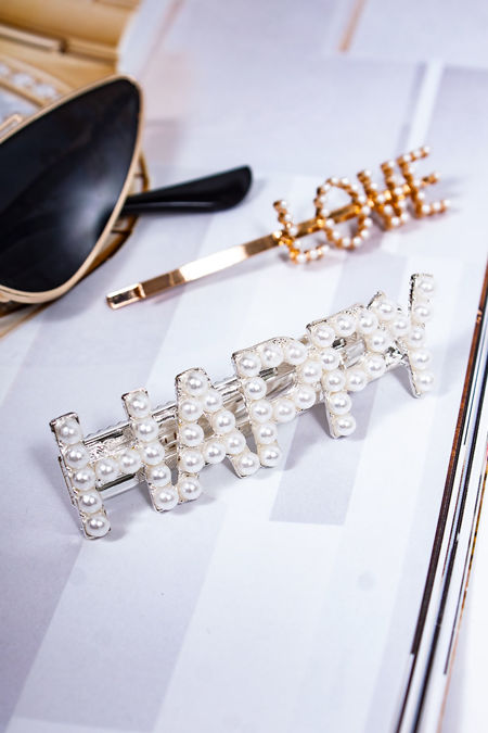 LAURA Silver Pearl Happy Hair Slide
