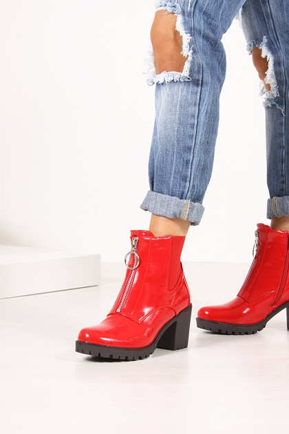 PHOEBE Red High Shine Zip Detail Block Heeled Ankle Boots