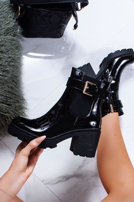 MELISSA Black Patent Buckle Strap Chunky Block Heel Boots