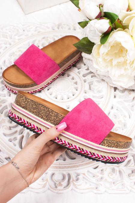 PETRA Fuchsia Strap Aztec Flatform Sandals
