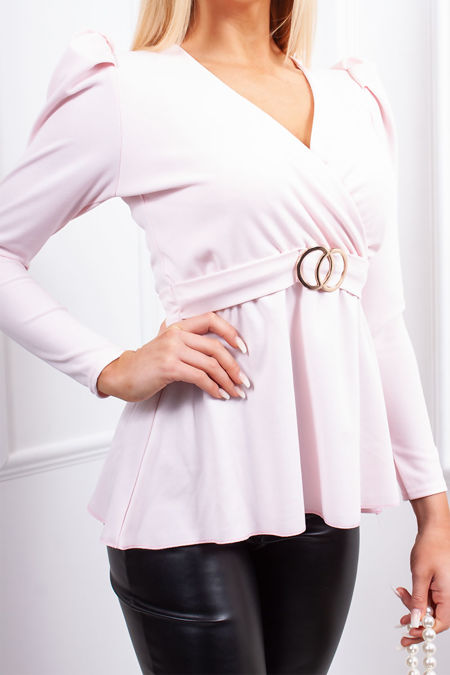 JOLIE Pink Ring Detail Belted Tie Back Top