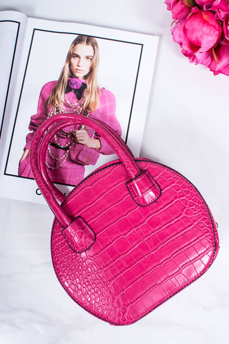 BELLA Fuchsia Croc Print Round Handbag