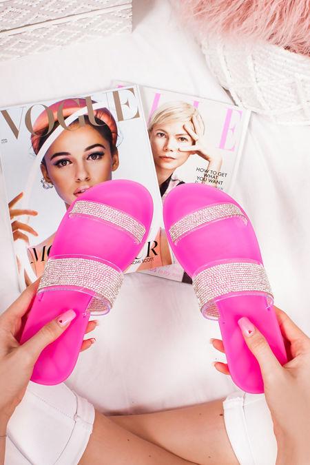 BETHANY Fuchsia Diamante Strap Jelly Sandals