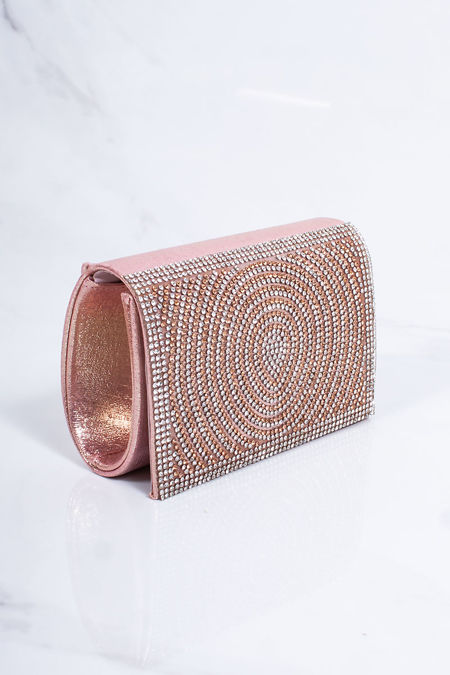 MOLLY Pink Diamante Mini Clutch Bag