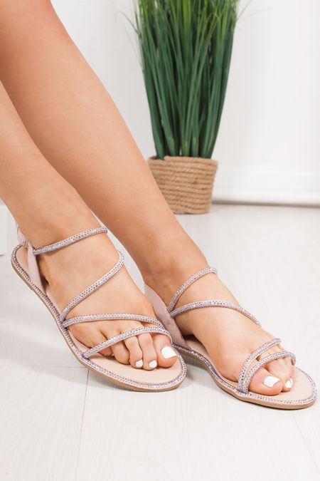 SAVANNA Pink Diamante Cross Strap Flat Sandals