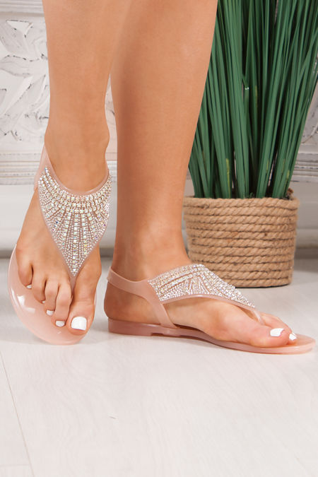 AVERY Nude Diamante Embellished Jelly Sandals