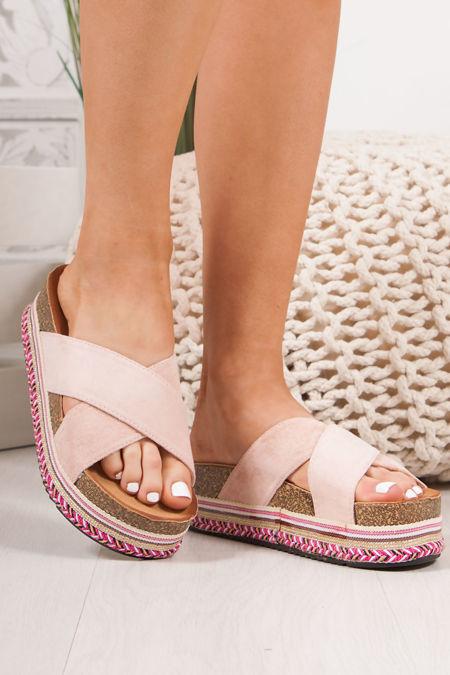 ROXIE Pink Cross Strap Aztec Flatform Sandals