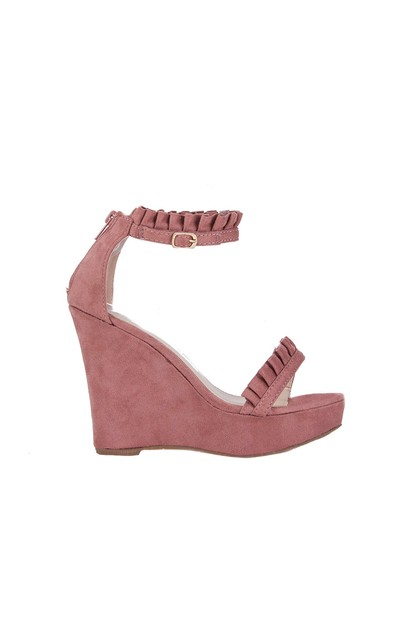 ROSE Pink Frill Wedges