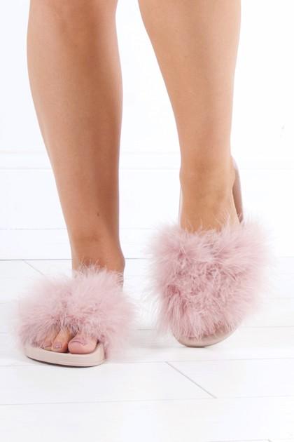 MEGAN Nude Faux Fur Slider