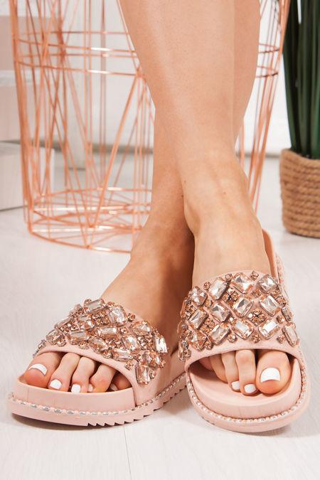 ALICIA Pink Jewel Embellished Sliders