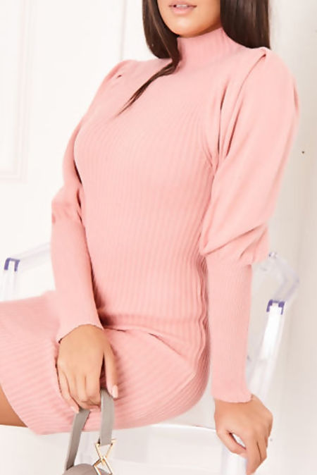 KIARA Pink Ribbed Puff Sleeve Knitted Jumper Dress