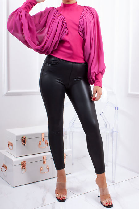 ZOIE Fuchsia High Neck Ruched Batwing Top