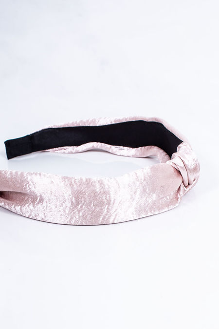 MEGAN Pink Satin Knot Headband